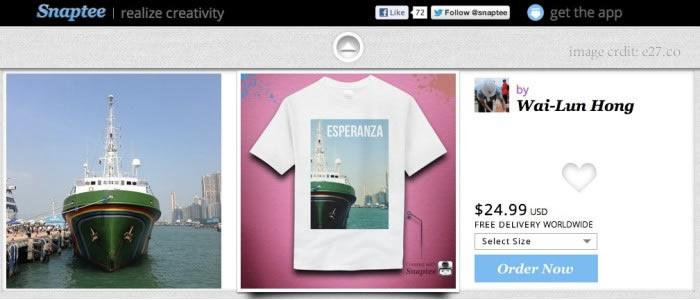 contoh hasil desain kaos custom aplikasi snaptee yang sekaligus di jual online