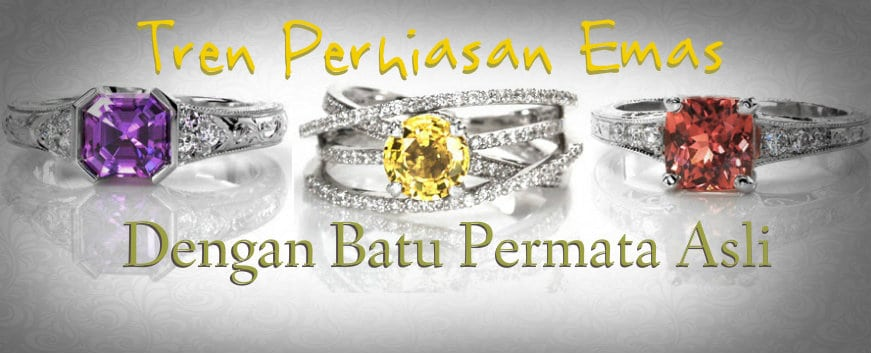 tren perhiasan emas dengan batu permata asli
