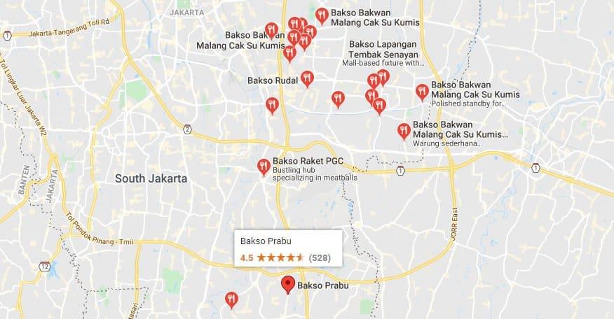 hunting kuliner di jaktim via googlemaps